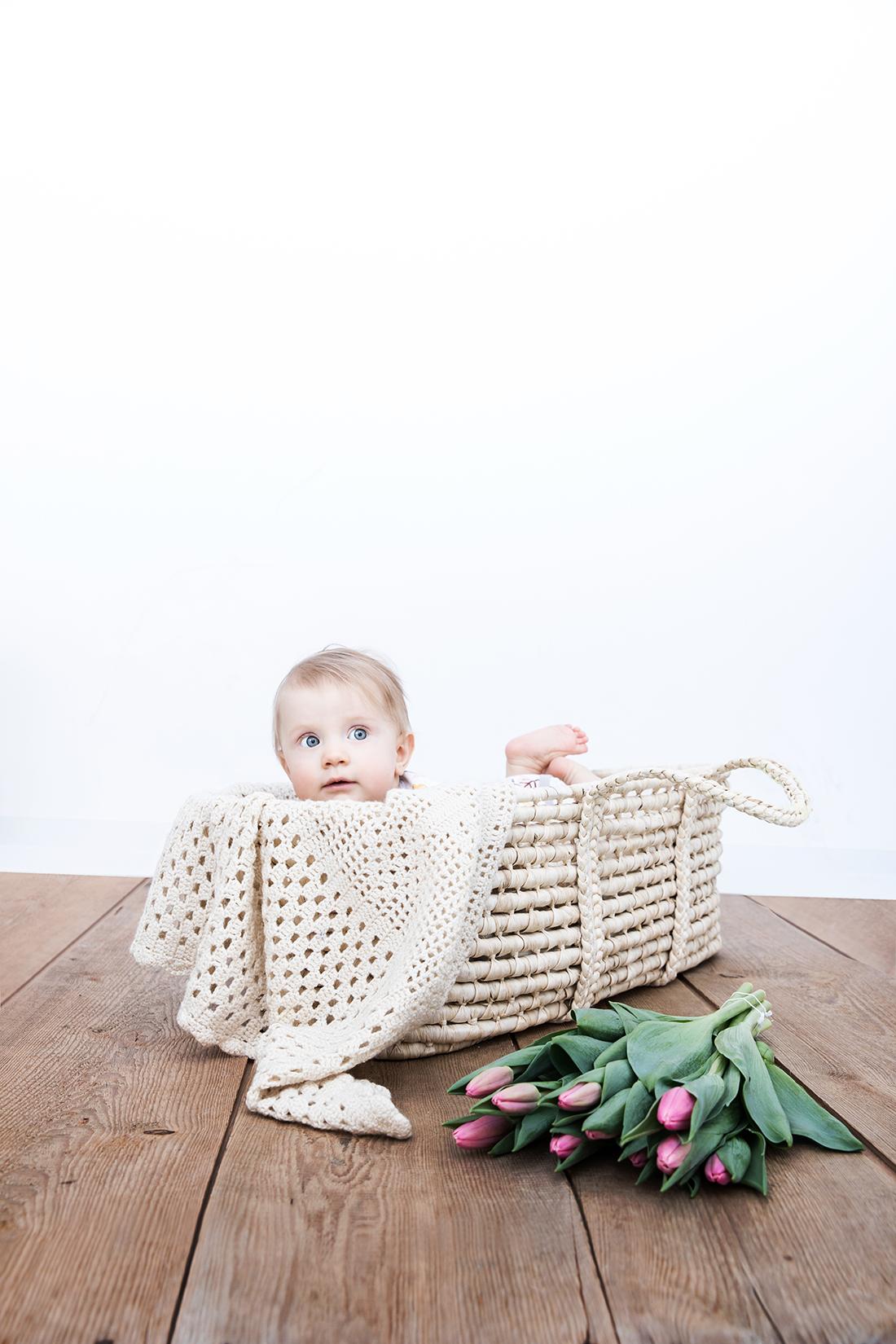 Babyportrait in Weidenkorb © Miriam Ellerbrake/ Little Monkey Fotografie 2015